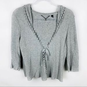 Anthro Knitted & Knotted Gray Tie Front Cardigan